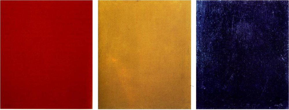 Pure Red Color (Chistyi krasnyi tsvet), Pure Yellow Color (Chistyizheltyitsvet), Pure Blue Color(Chistyisiniitsvet), 1921, each panel 24.5 x 21.jpg