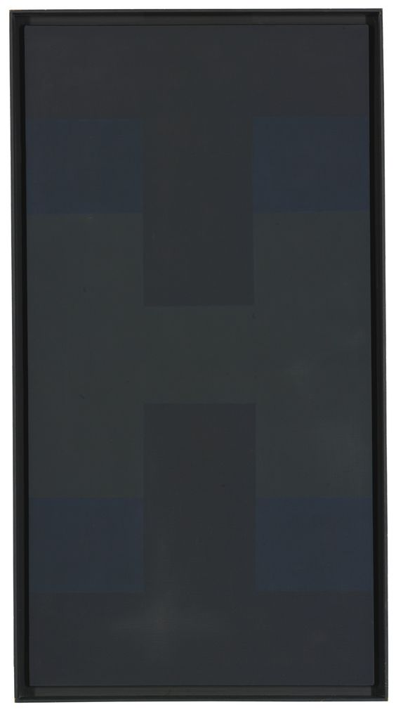 Ad Reinhardt (1913 - 1967) BLACK oil on canvas in artist's frame Overall_50 1:4 by 27 in. 127.6 by 68.6 cm. Executed circa 1954..jpg