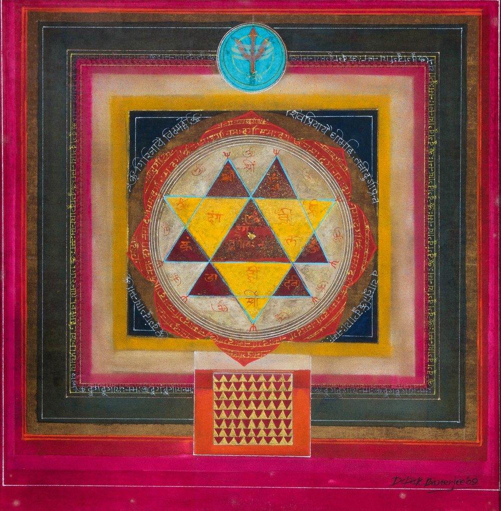 Dipak Banerjee-Devi-17.3in x 17.1in-(43.9cm x 43.4cm)-Mixed Media Painting on Canvas-2009.jpg