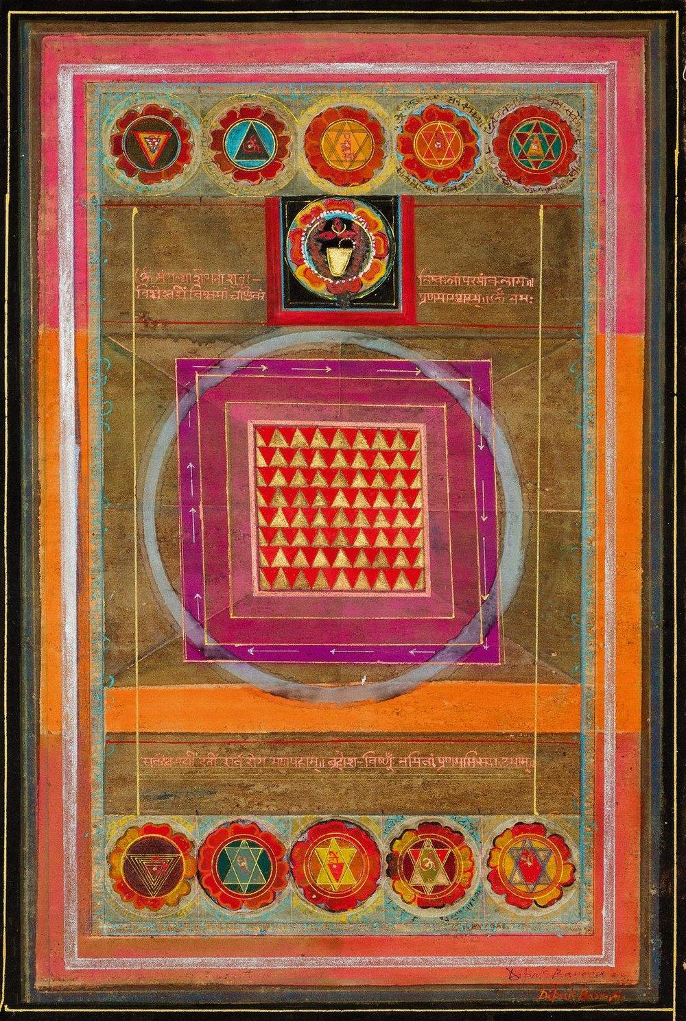Dipak Banerjee-Tara-O-Chasath Yogini-28.3 in x 18.2in-(71.9 cm x 46.2 cm)-Mixed Media on Canvas.JPG