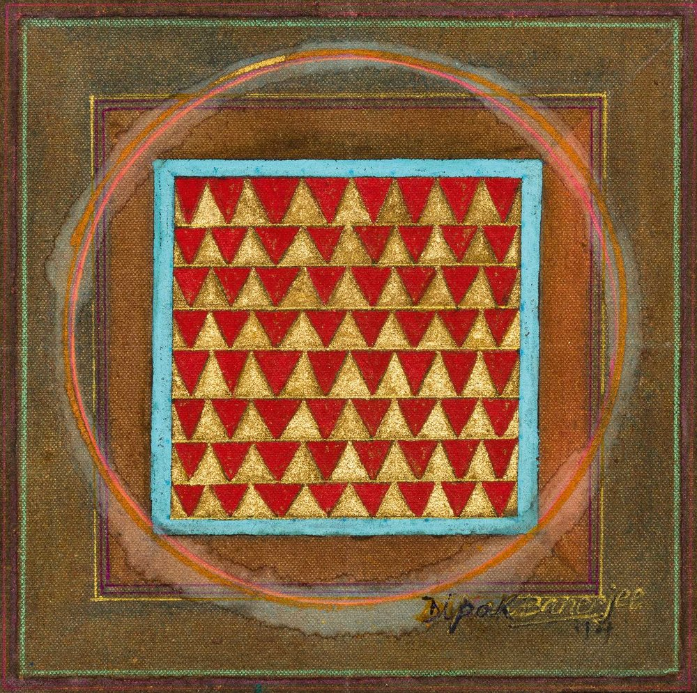 Dipak Banerjee-Yogini-6.75 in x 6.75 in-(17.15 cm x 17.15cm)- Mixed Media on Canvas-2014.JPG
