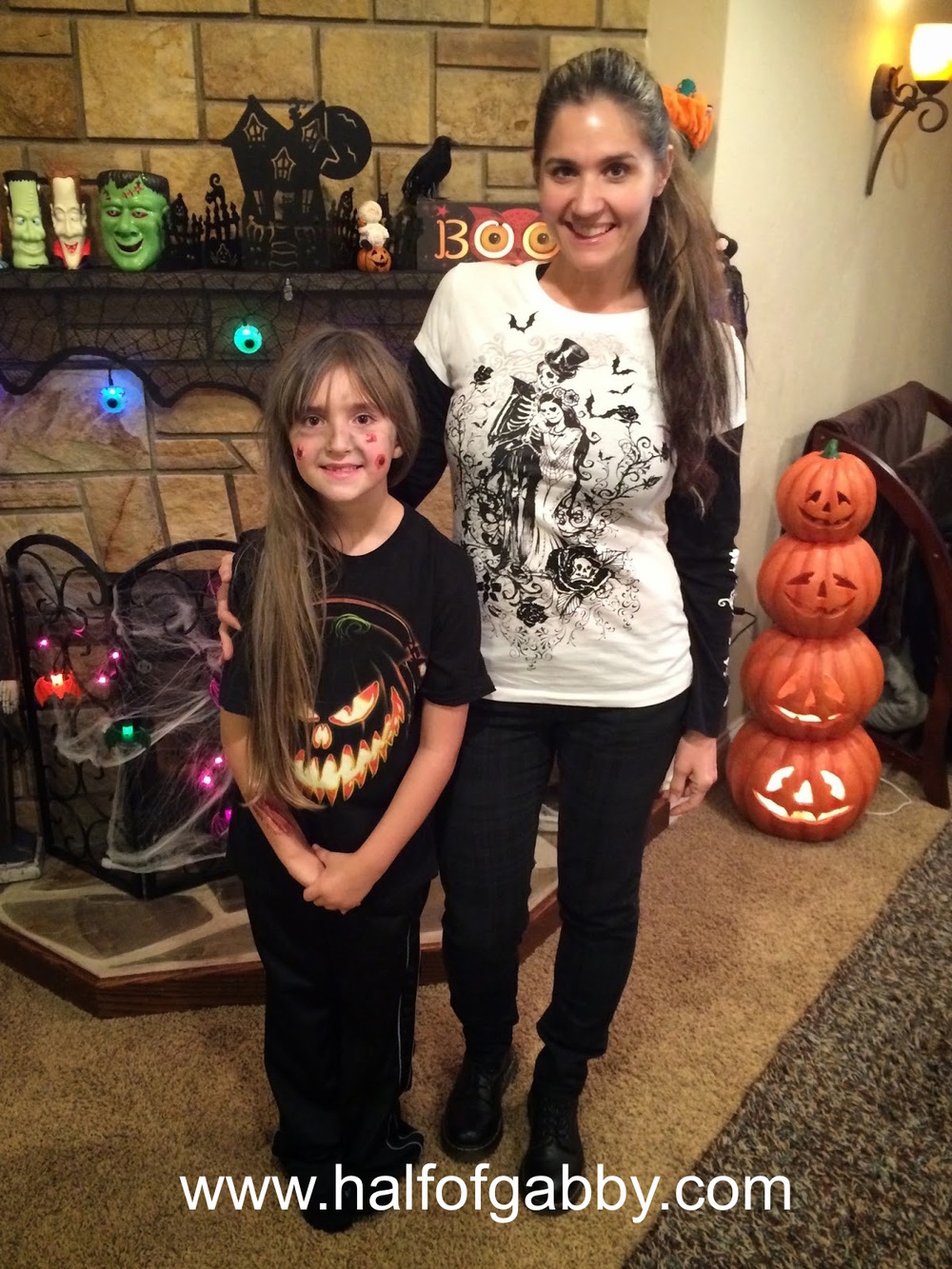 This is my youngest, Jossy and I. She is still in her zombie makeup after the kid's Halloween party.
