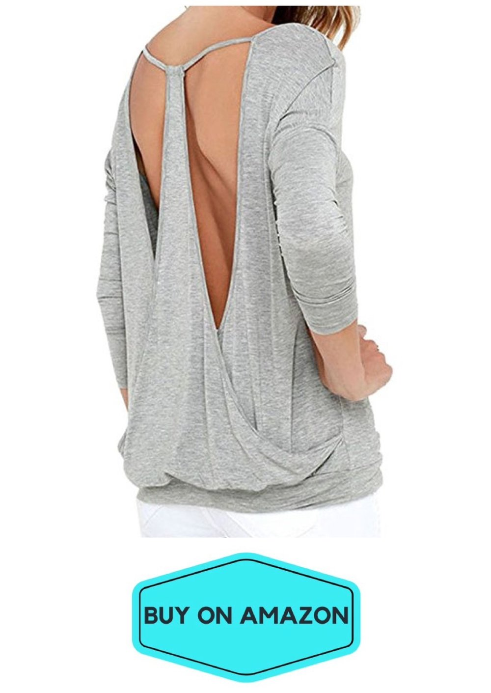 Long Sleeve Backless Knit Yoga Top