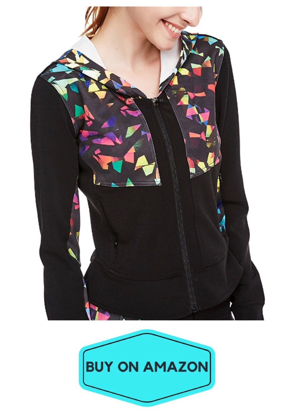 Yoga Track Jacket, Black/Rainbow Colors