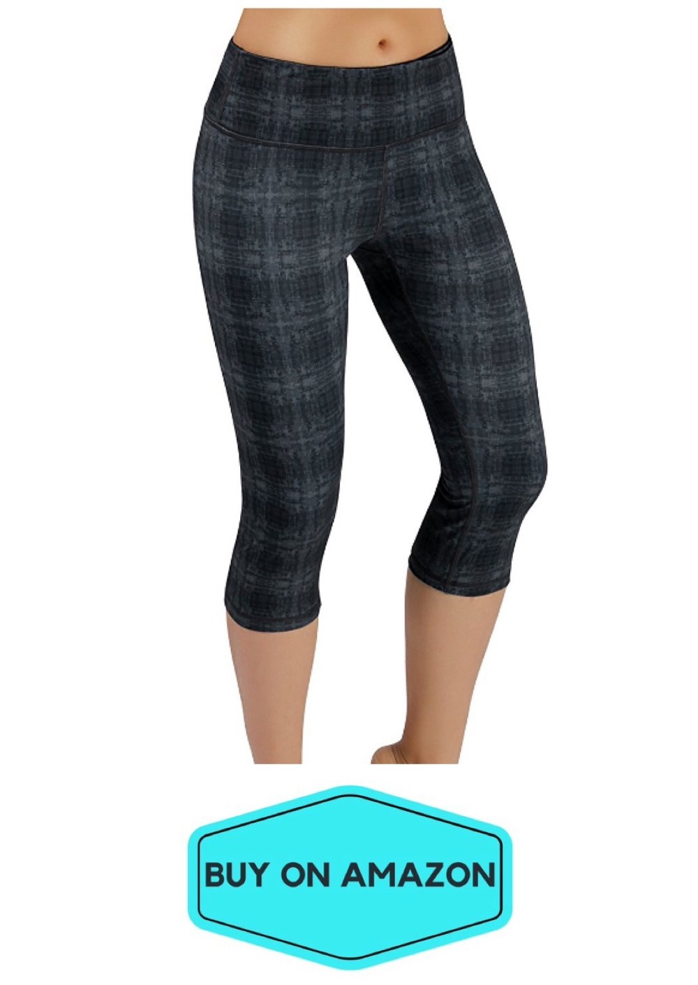 Black/Gray Plaid Capri Leggings