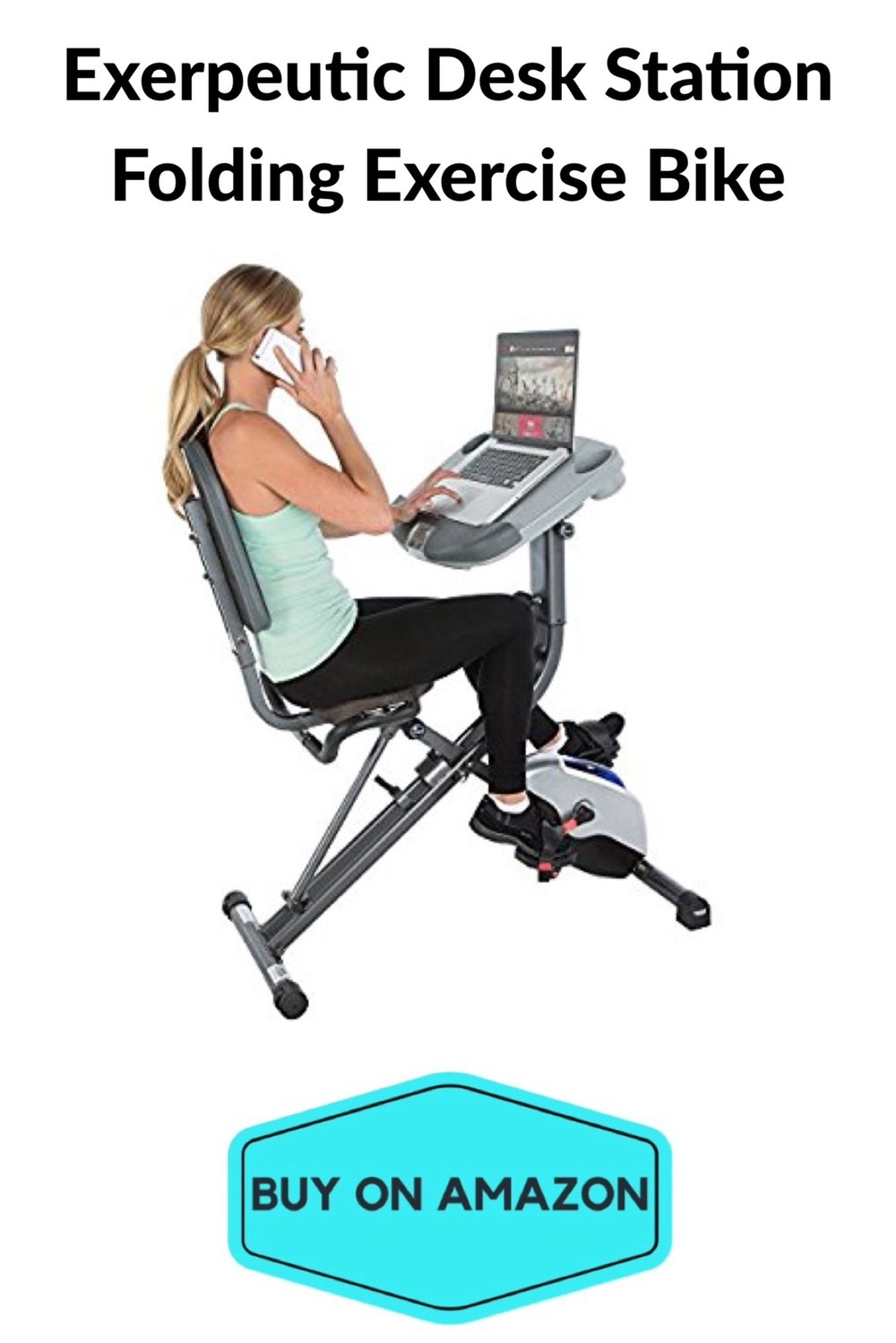 Exerpeutic WORKFIT Desk Station Folding Exercise Bike