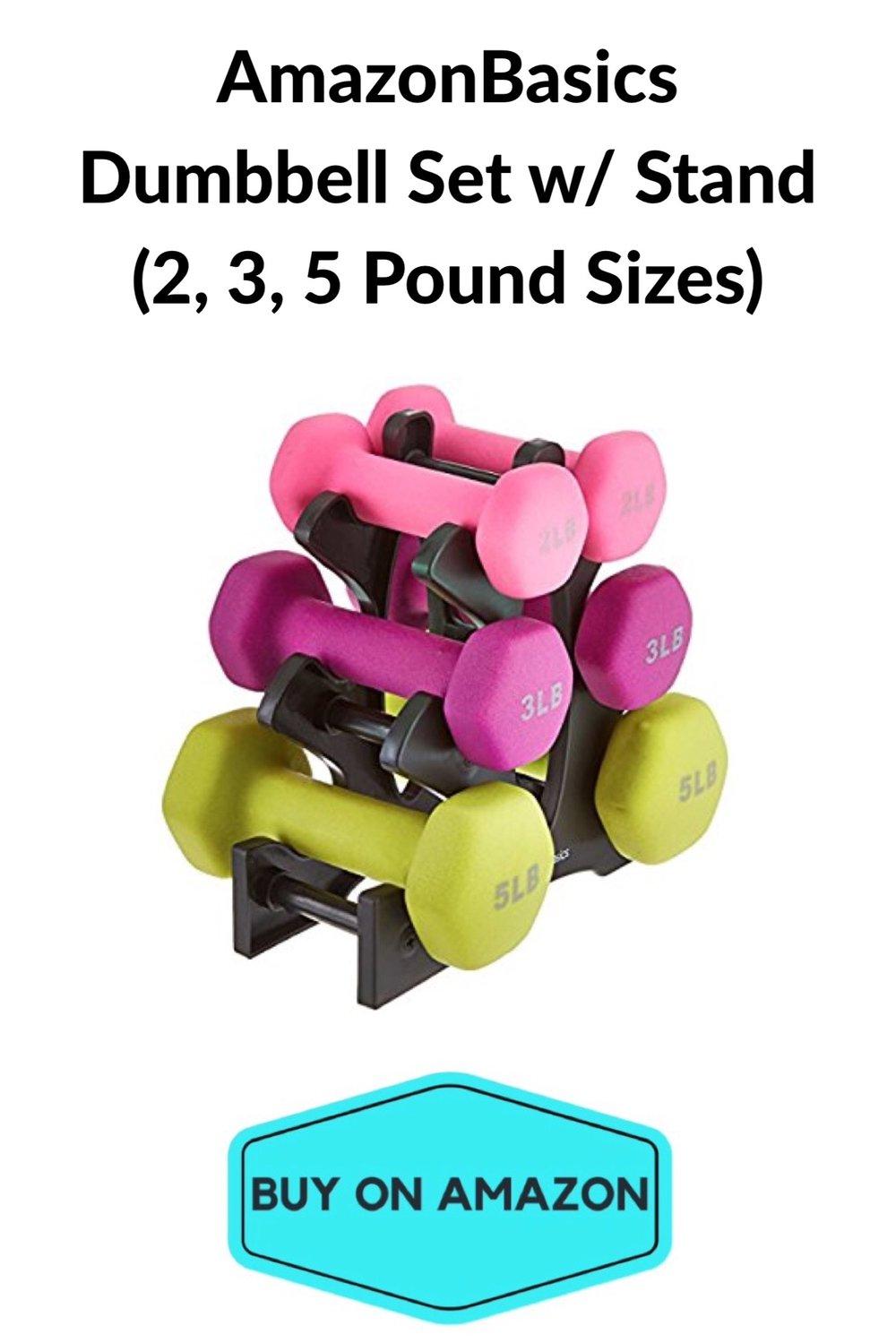 AmazonBasics 20 Pound Dumbbell Set w/ Stand
