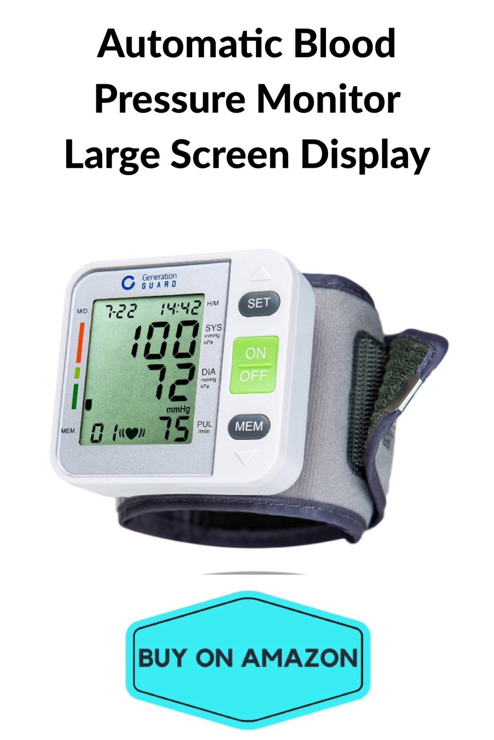 Automatic Blood Pressure Monitor Large Screen Display