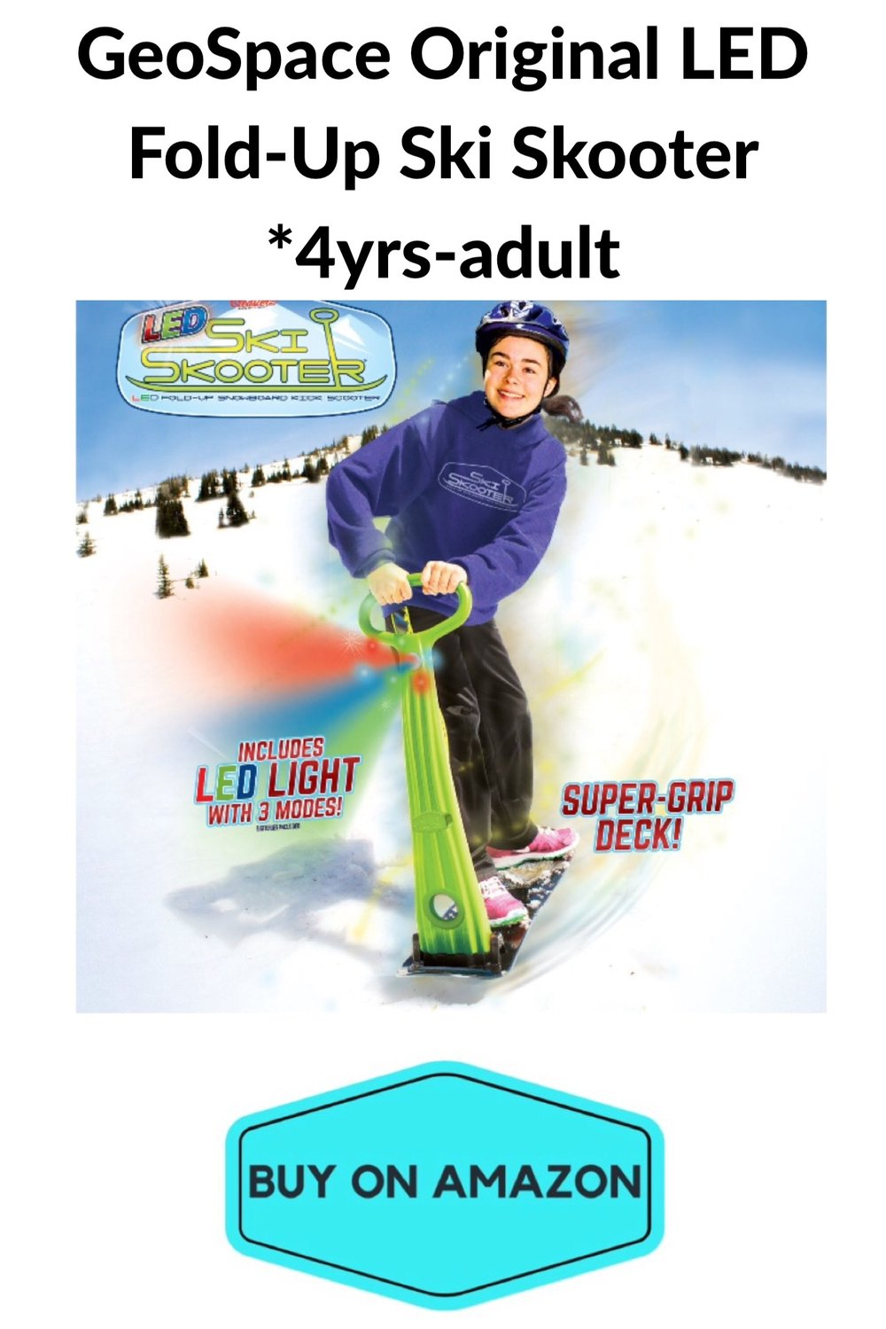 GeoSpace LED Fold Up Ski Skooter, Ages 4-Adult