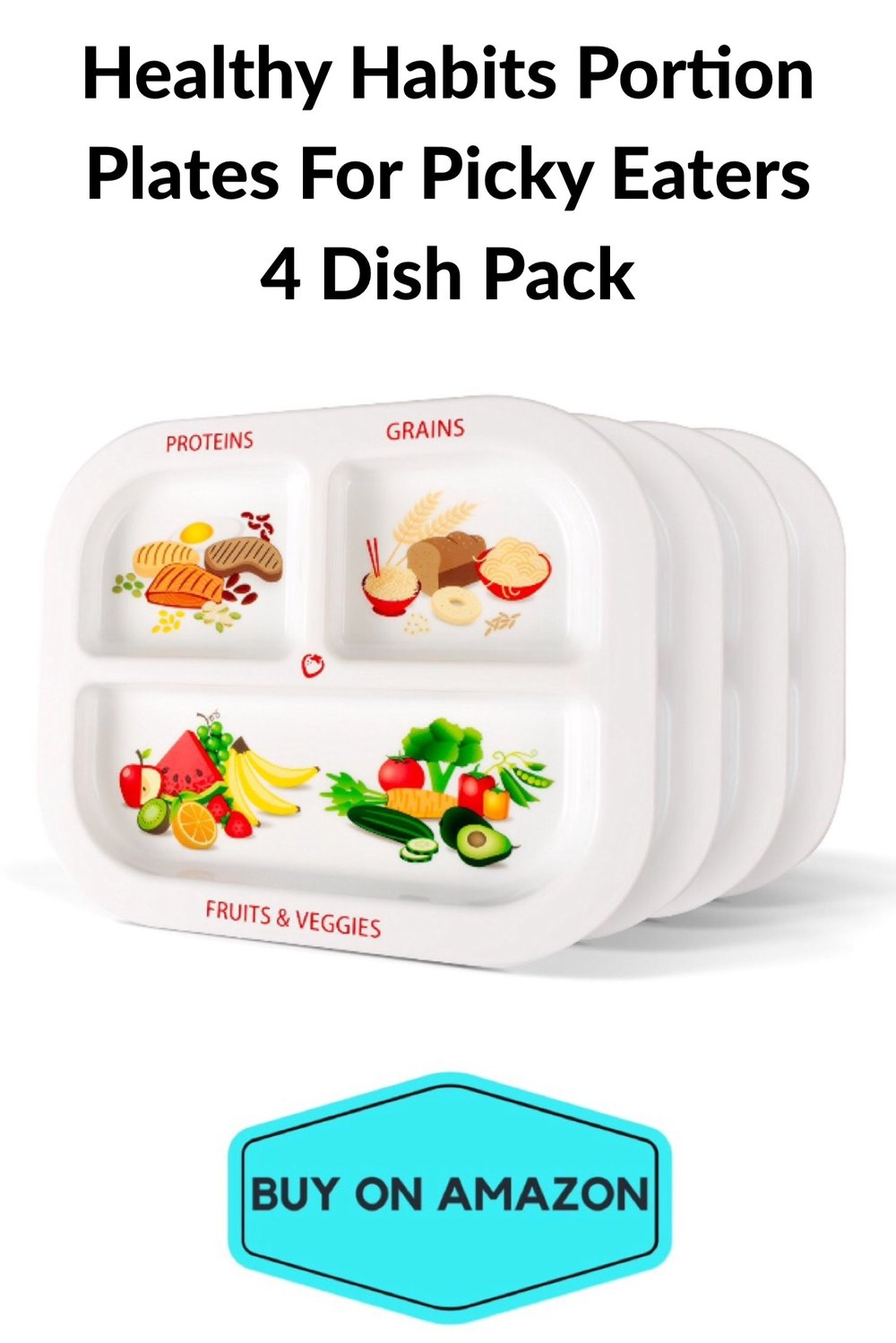 Healthy Habits Portion Plates for Picky Eaters, 4-pack