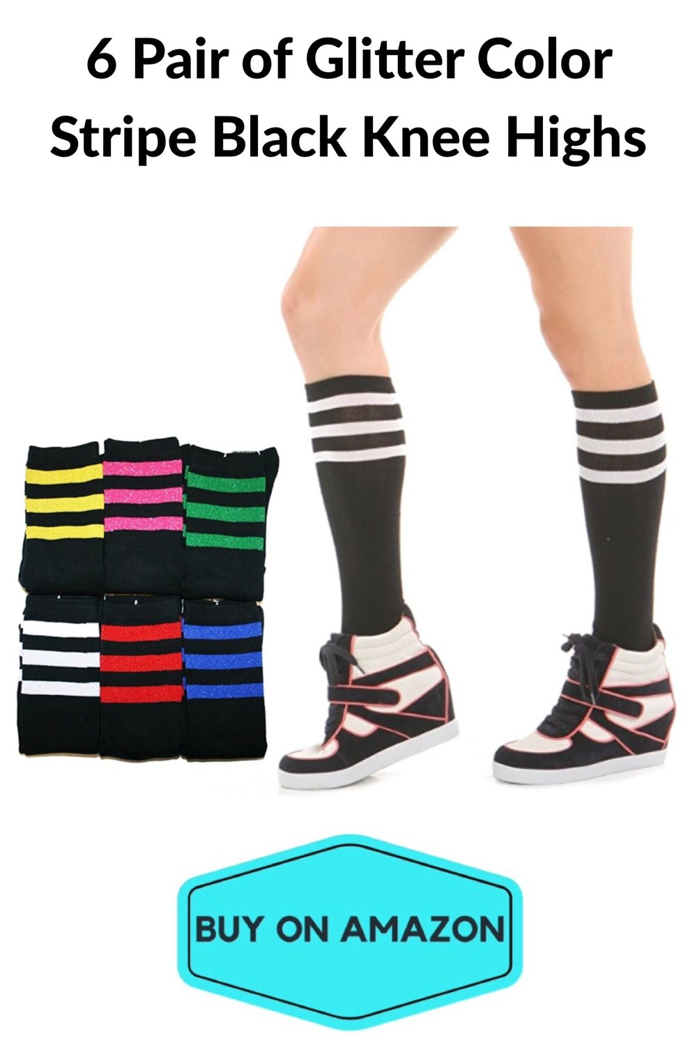 Glitter Stripe Knee High Gym Socks, 6-pack