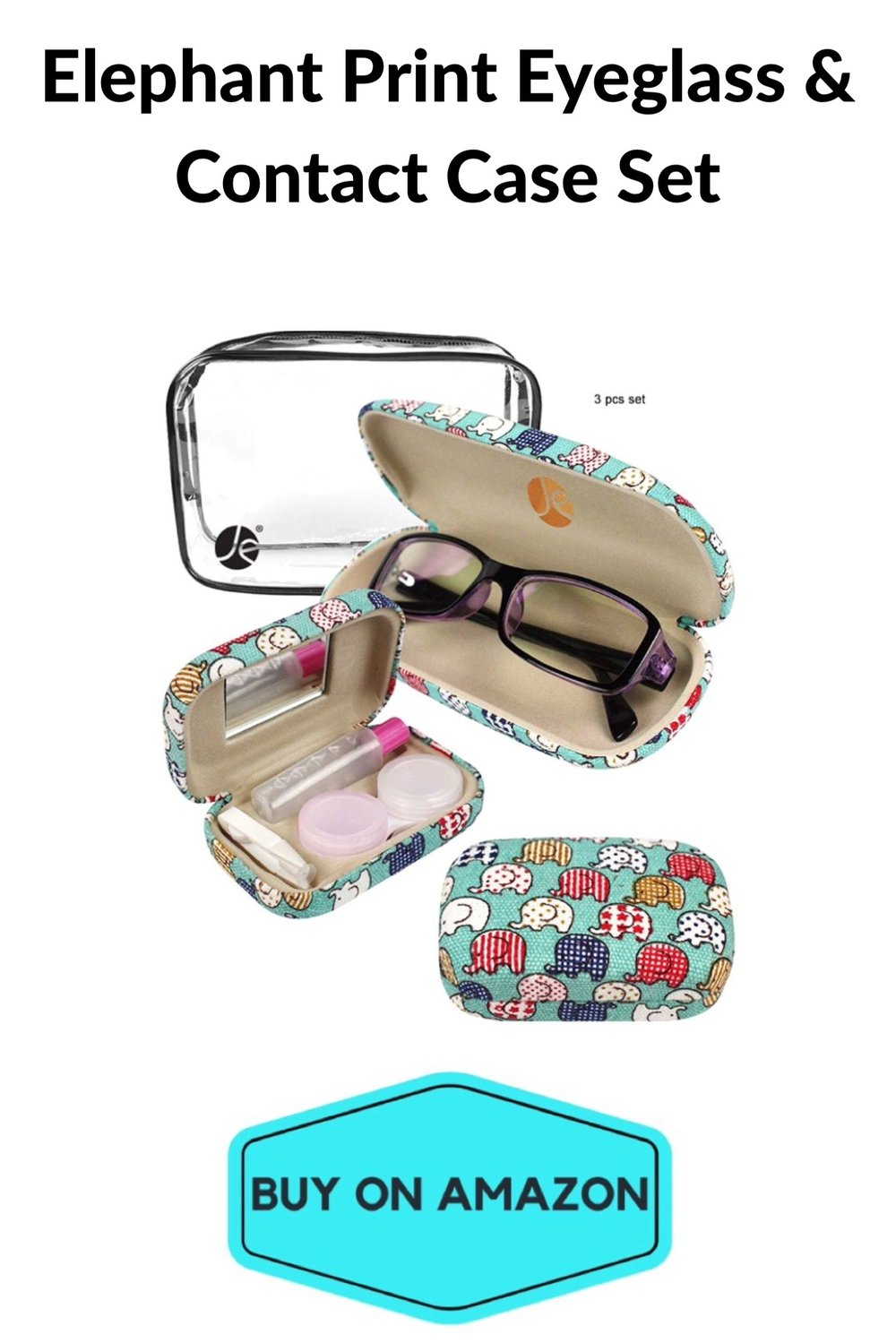 Elephant Print Eyeglass & Contact Case Set