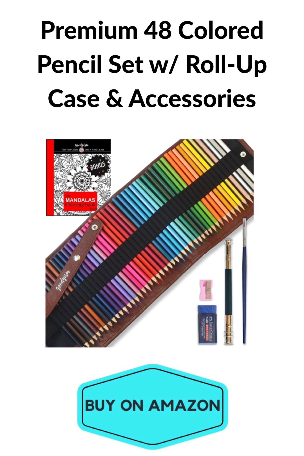 Premium 48 Colored Pencil Set w/ Roll-Up Case