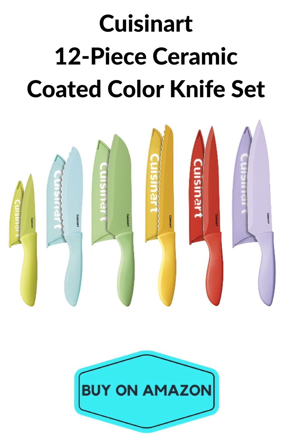 Cuisinart 12 pc Ceramic Coated Color Knife Set