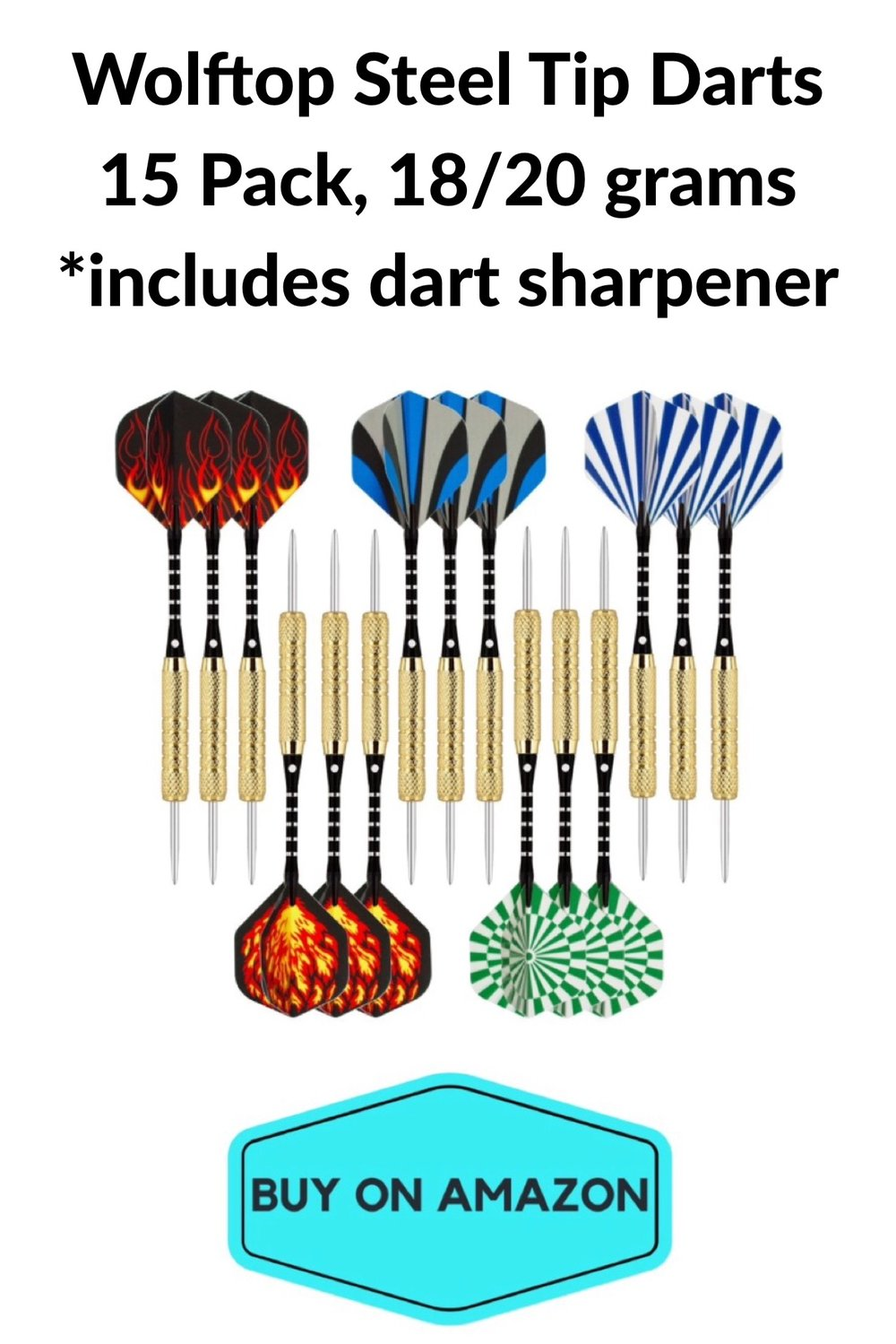 Wolftop Steel Tip Darts, 15 pack