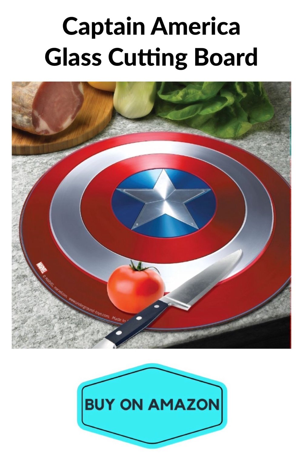 Captain America Glass Cutting Board