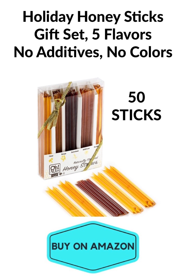 50 Holiday Honey Sticks Gift Set, 5 Flavors