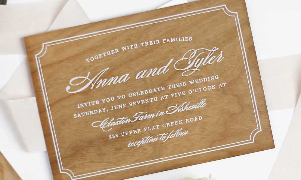 Real Wood Wedding Invitations by Basic Invite