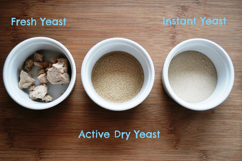 Three kinds of yeast.