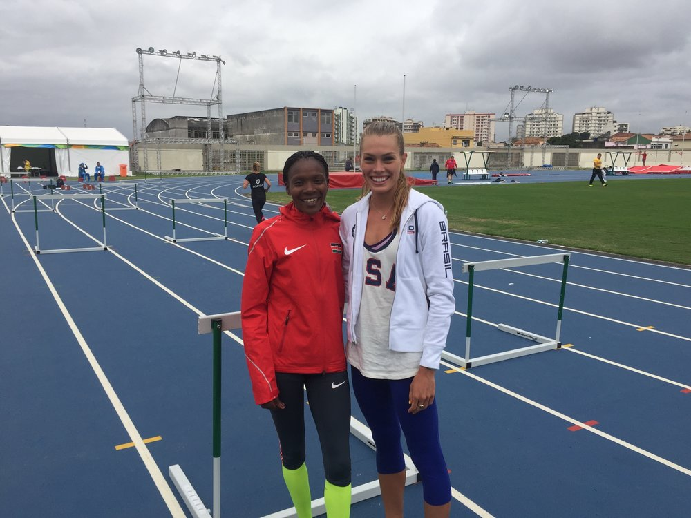 My BTC teammate Betsy Saina and I on the warmup track next to the Olympic stadium