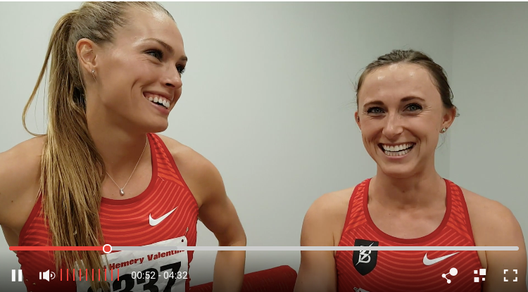 Shelby Houlihan and Colleen Quigley after running the top 2 times in the world