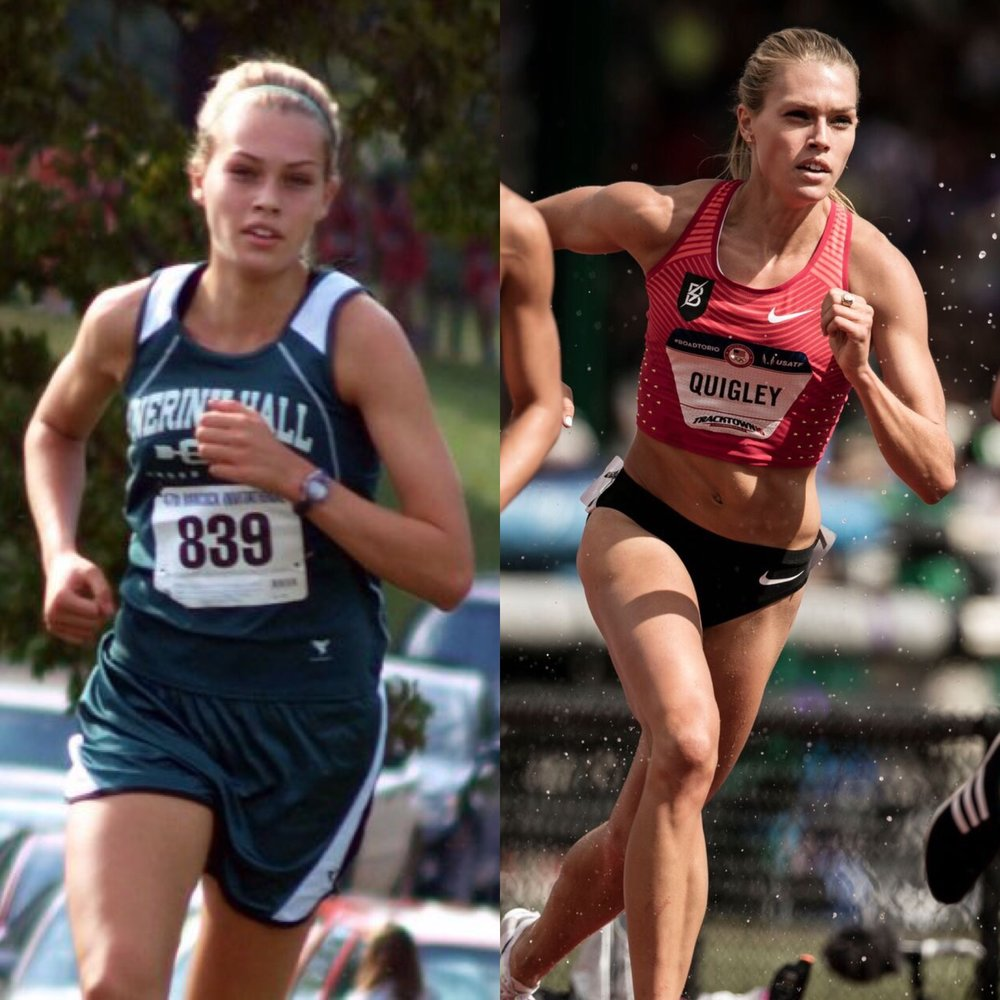 Left: 2010, senior year of high school competing for Nerinx Hall in St. Louis, MO.                         Right: 2016 at the Olympic Trials competing for the Bowerman Track Club in Eugene, OR.