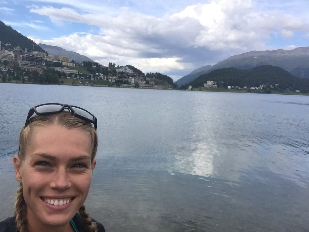 The backdrop of our Switzerland altitude camp, Lake St. Moritz