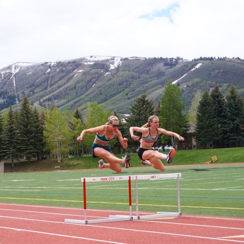 Courtney and I doing some hurdle practice at the Park City high school track