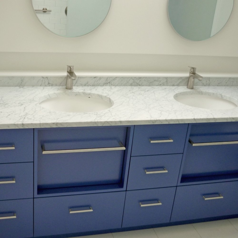 Colorful and contemporary — Blue Hill Cabinet and Woodwork