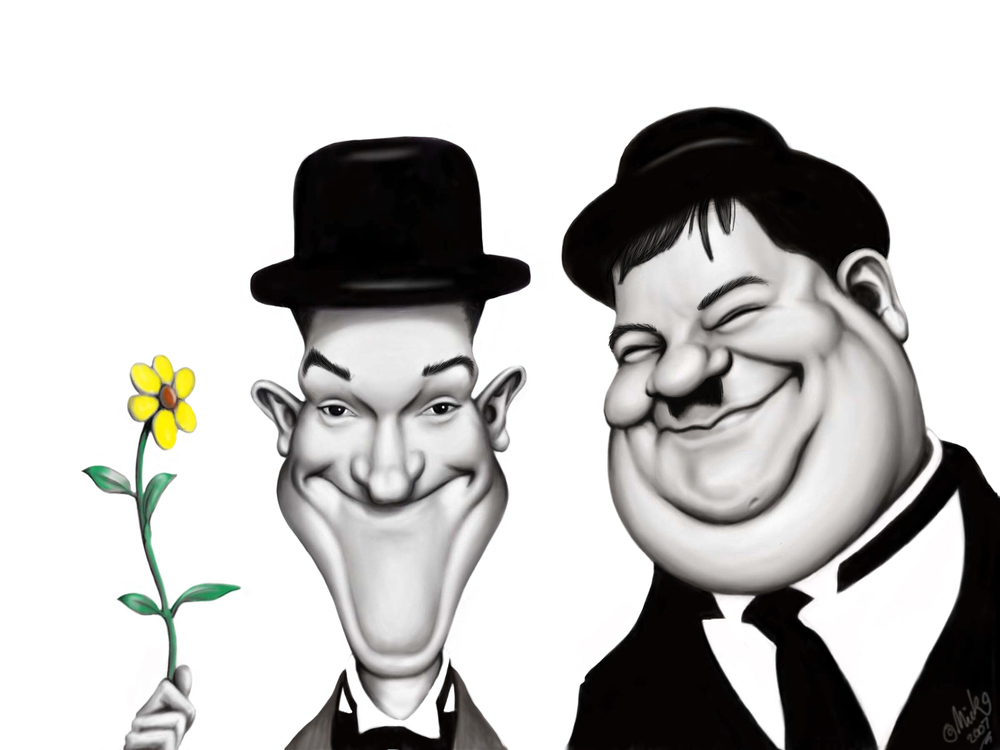 Laurel and Hardy by Mick Hollinworth