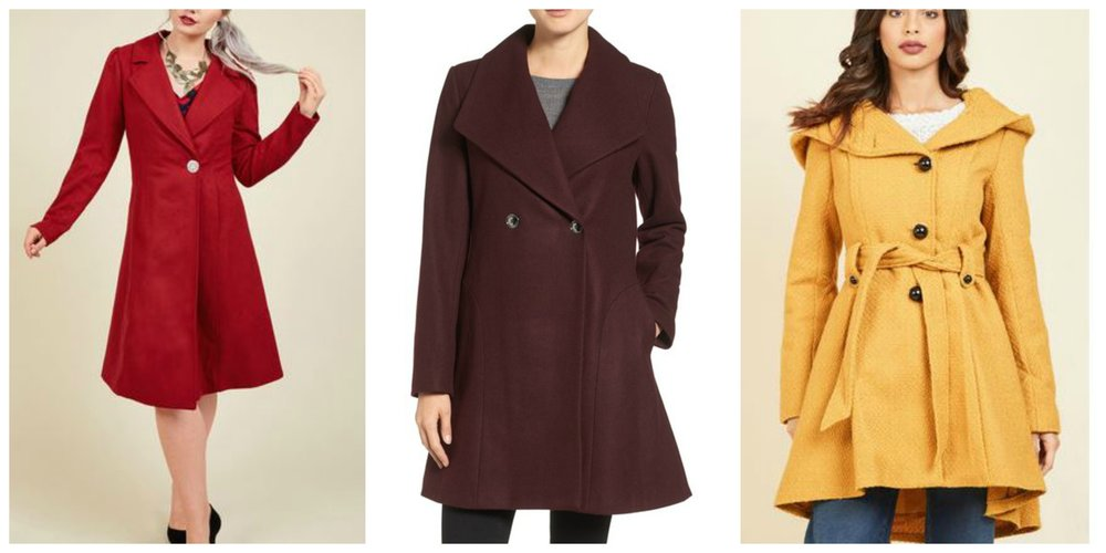 L - Modcloth 'Fall in Love' red coat, C - Michael Kors at Nordstrom, R - Modcloth 'Once upon a thyme' mustard coat