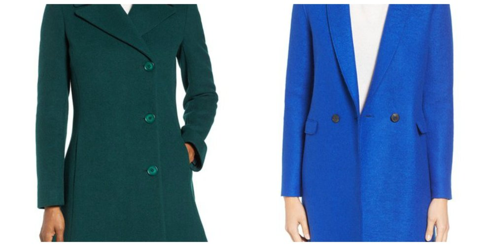 L - Forest green coat at Nordstrom, R - bright blue coat also at Nordstrom