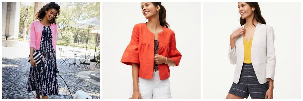Boden USA cropped cashmere cardigan, Ann Taylor LOFT orange jacket (how cute is this?!) and LOFT white linen blazer