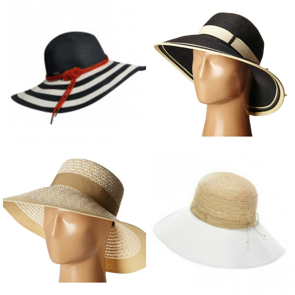 Top left: Betmar Demetria at Hats in the Belfry, top right: Scala paper lamp hat at Zappos, bottom left: Audrey at Zappos, bottom right: Helen Kaminski Kessy 12 at Hats in the Belfry