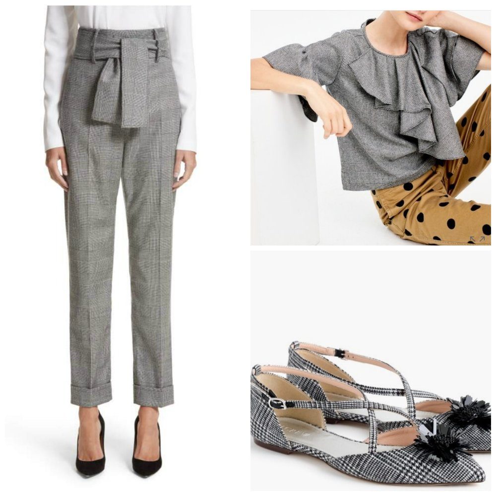 Plaid, but definitely not your dad's plaid! Trousers: Sara Battaglia at Nordstrom. Ruffled top (I LOVE this one!) at J.Crew. Shoes at J. Crew.