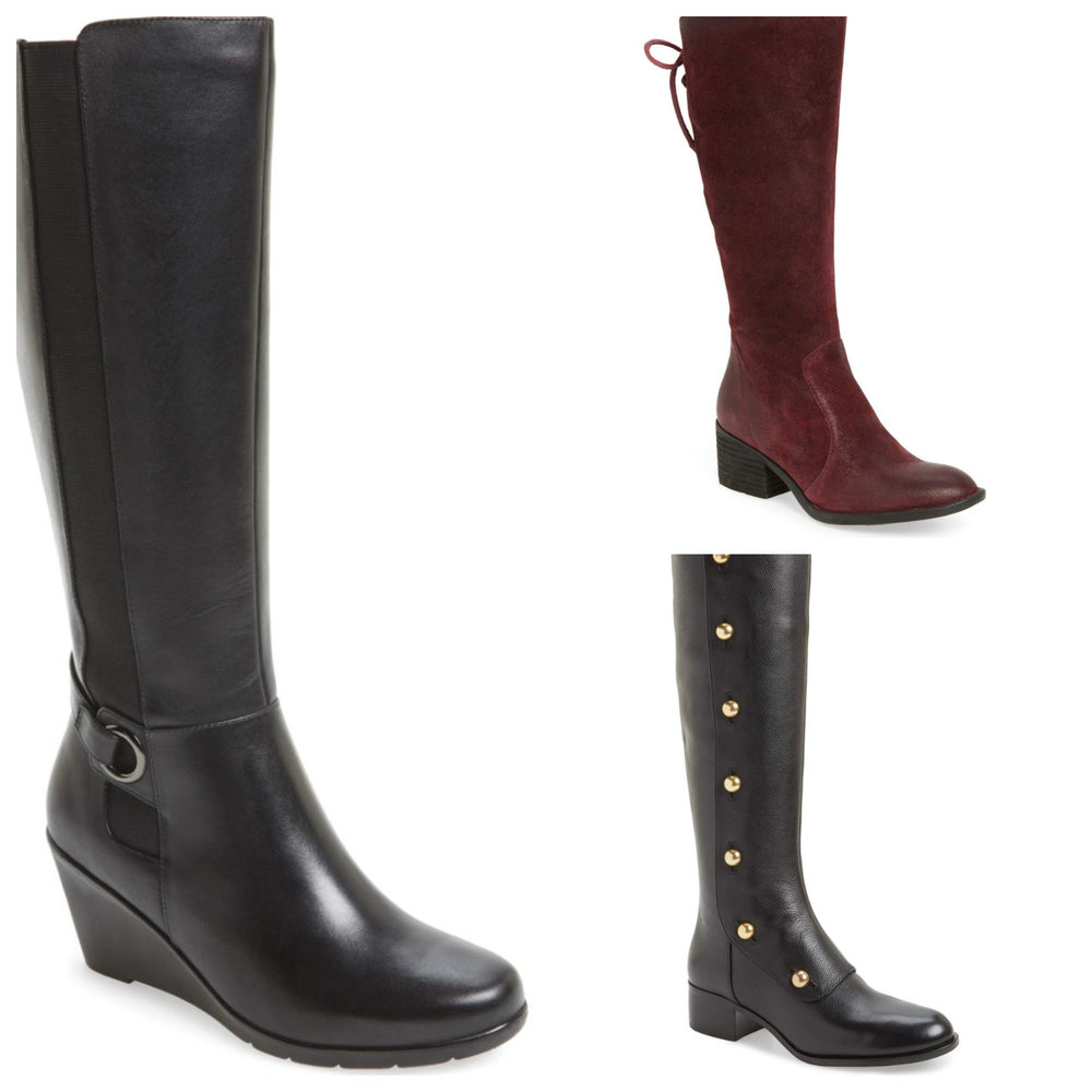 Left: Blondo waterproof boots. Top right: burgundy suede from Born (comfortable!), bottom right: Maisie by Michael Kors. All at Nordstrom.