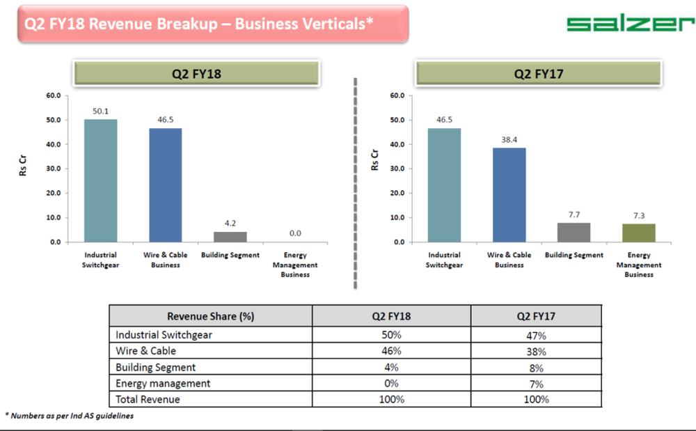 Salzer Electronics Q2FY18 Revenue Breakup.png