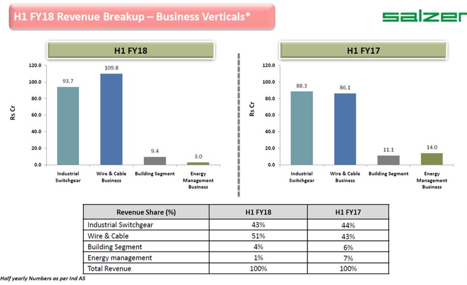 Salzer Electronics H1FY18 Revenue Breakup.png