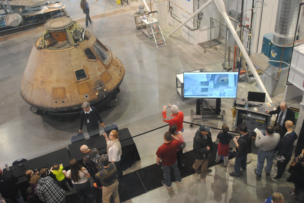 The Apollo 11 command module Eagle is viewed by thousands following months of conservation work at the Smithsonian National Air and Space Museum Udvar-Hazy Center in Virginia.