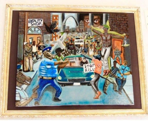 """""""Untitled,"""" a the painting that caused a stir in the Capitol,by David Pulphus, a high school student in Missouri."""