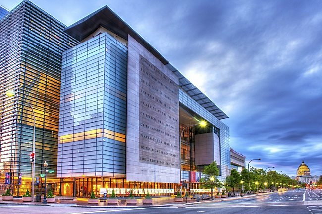 """The First Amendment has a prominent place on the front of Newseum, Washington's contemporary """"museum of news."""""""