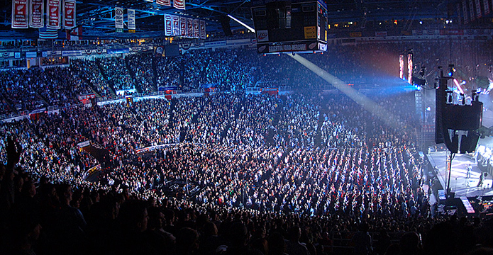 Joe Louis arena, steps from the Detroit River, was a major concert venue for 35 years.