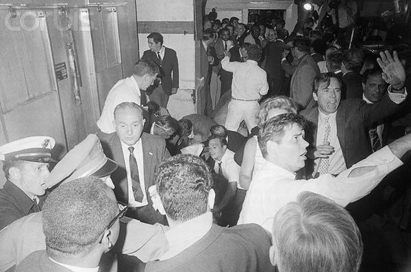 Moments after shots fired: Hugh McDonald is on the right, arm out-stretched, apparently imploring photographers and others to clear the crowded room. Ethel Kennedy is to Hugh's left. Robert Kennedy is on the floor, center left, obscured. Life photographer Bill Eppridge is there, partially hidden. I am uncertain as to who took this particular photo. Among the possibilities are Ron Bennett of UPI, Boris Yaro of the L.A. Times, or freelancer Harry Benson.