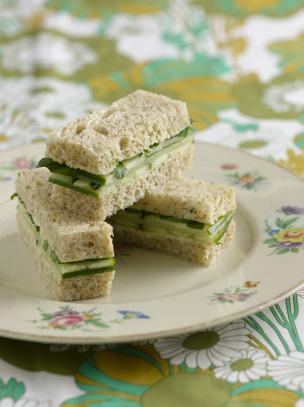Cucumber and Watercress Tea Sandwiches, with lemon-chive butter on whole wheat bread.