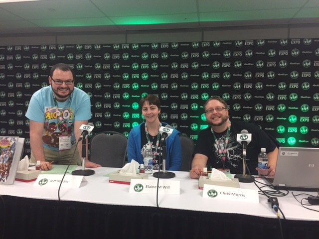 "Saskatoon Expo ""The Supers"" Panel with (L-R) Jeff Martin, Elaine Will and Chris Morris (moderator).  Listen to the panel by clicking the link above!"