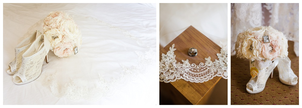 Brittni was one stunning bride! Her lace details complemented her rustic style and she incorporated touching items into her bouquet, like a picture of her grandparents.