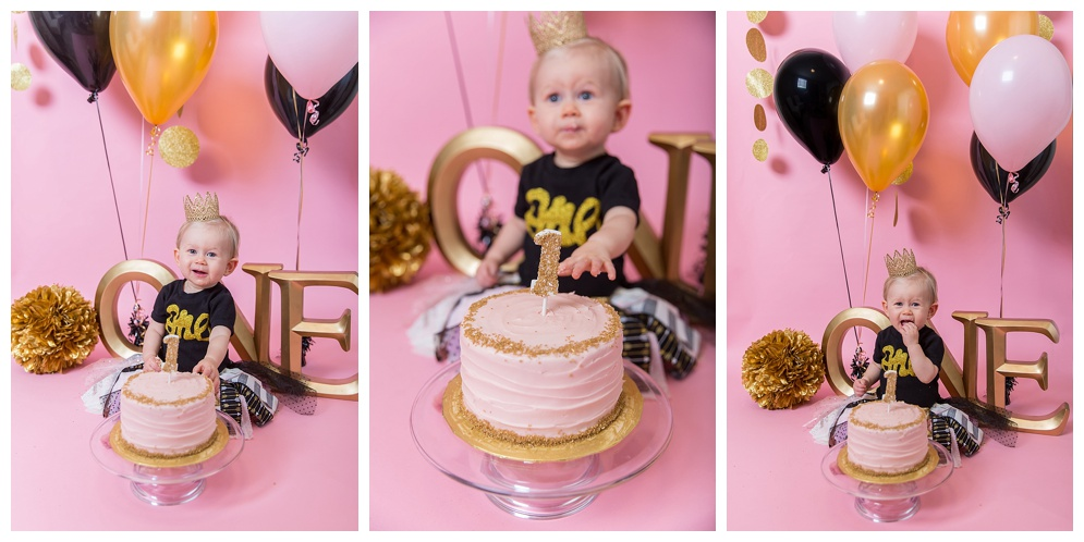 Little miss Cienna turned 1 this past fall and we celebrated with cake! She loved the frosting :) Mom styled Cienna in an adorable black, gold, and pink outfit from Tinee & Trendee. I have loved photographing her over the past year, she is always so happy and smiling. Can't wait for all the playdates Cienna & Bristol will have over the years!