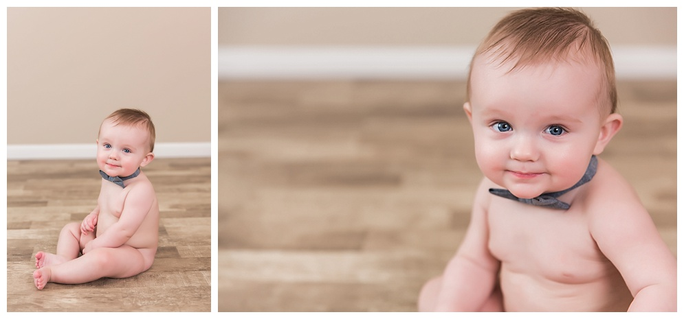 This little cutie brought his adorable blue eyes and baby rolls over for an afternoon session. He showed me how he holds his baseball, football and eats his feet. We ended the session with a quick meeting with Bristol :)