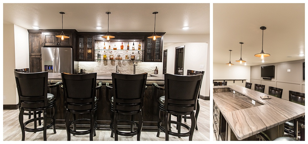 This amazing basement remodel included a new bar, movie theater, wine cellar, and gym!