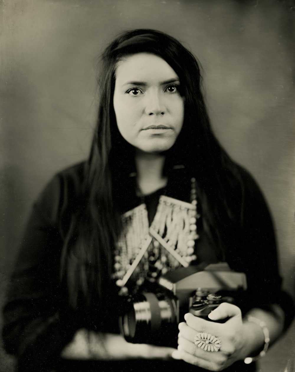 """Melanie Sioux""  Hunkpapa Sioux  Northern Plains Native Americans: A Modern Wet Plate Perspective"